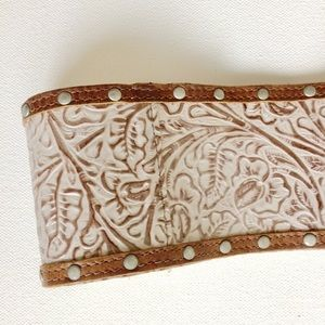 Accessories - Leather Handcrafted Brown and White Belt NWOTS